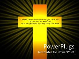 PowerPlugs: PowerPoint template with christian crucifixion glowing cross with quote about Jesus Christ, black background, religion, spiritual