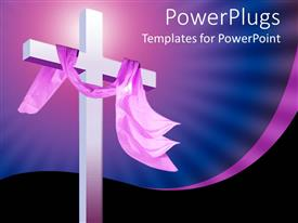 PowerPlugs: PowerPoint template with christian religion theme with white cross and pink cloth, blue and black background