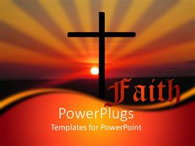 PowerPoint template displaying christian religious faith metaphor with cross at sunset