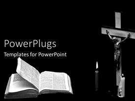 PowerPlugs: PowerPoint template with christian theme with crucifix, Jesus on Cross, candles, Bible, church