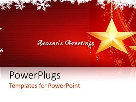 PowerPlugs: PowerPoint template with two shining ywllow starts with a text that spells out the words 'seasons greetings'