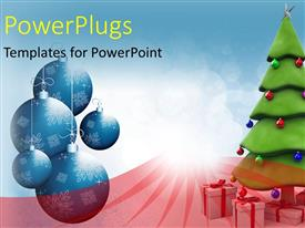 PowerPlugs: PowerPoint template with a Christmas tree with lots of Christmas gifts and ornaments