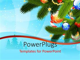 PowerPlugs: PowerPoint template with christmas depiction with colorful ornaments on Christmas tree over blue background