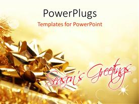 PowerPlugs: PowerPoint template with christmas card with gold colored ribbon for decoration