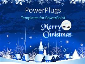 PowerPlugs: PowerPoint template with christmas town with text that spells out the words 'seasons greetings'