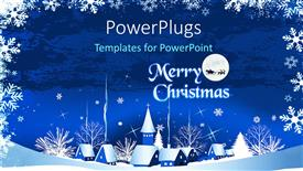 PowerPoint template displaying christmas town with text that spells out the words