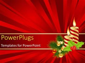 PowerPoint template displaying the Christmas celebration with the help of candles