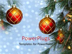 PowerPlugs: PowerPoint template with a Christmas celebration with lights in the background