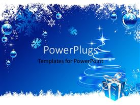 PowerPoint template displaying a Christmas celebration theme with a gift hamper
