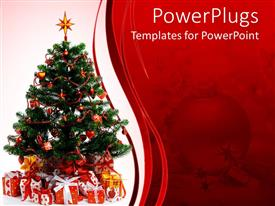 PowerPlugs: PowerPoint template with christmas celebrations with tree and Gifts