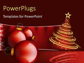 PowerPlugs: PowerPoint template with christmas decoration with ornament and Christmas tree with stars