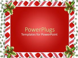 PowerPlugs: PowerPoint template with christmas decoration showing holy leaves as frame and shades of red
