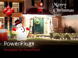 PowerPlugs: PowerPoint template with christmas decorations with ornaments and depiction of Santa Claus