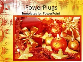 PowerPoint template displaying christmas decorations with ornaments and gift boxes with ribbons