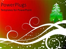 PowerPlugs: PowerPoint template with christmas depiction with artistic christmas tree and snow flakes