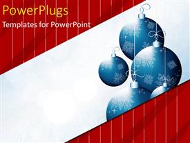 PowerPlugs: PowerPoint template with christmas depiction with blue ornaments over red background with white lines