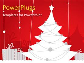 PowerPlugs: PowerPoint template with christmas depiction with Christmas tree decoration and gift boxes