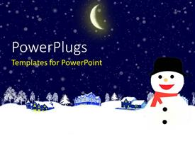 PowerPoint template displaying christmas depiction with crescent moon over snowy hills and trees