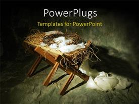 PowerPoint template displaying christmas depiction with crown of thorns and white robe