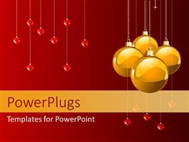 PowerPlugs: PowerPoint template with christmas depiction with four yellow ornaments and heart symbols hanging