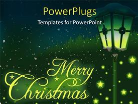PowerPlugs: PowerPoint template with christmas depiction with glowing stars and lamp on green themed background