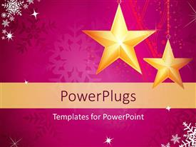 PowerPoint template displaying christmas depiction with gold stars and snowflakes on purple background