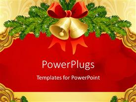 PowerPlugs: PowerPoint template with christmas depiction with golden bells and red ribbon as decoration