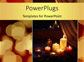 PowerPlugs: PowerPoint template with christmas depiction with lighted candles for decoration and Santa Claus