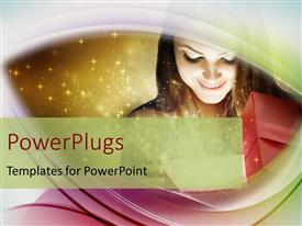 PowerPlugs: PowerPoint template with christmas depiction with little kid holding gift box and stars in background