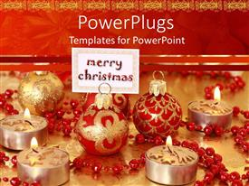 PowerPlugs: PowerPoint template with christmas depiction with ornaments and candle lighted