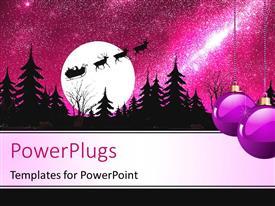 PowerPlugs: PowerPoint template with christmas depiction with ornaments, Christmas tree and Santa riding horse cart