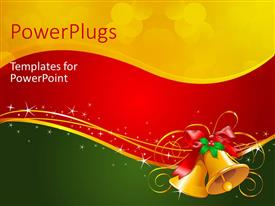 PowerPlugs: PowerPoint template with christmas depiction with red ribbons and golden bells over colorful surface