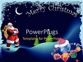 PowerPlugs: PowerPoint template with christmas depiction with Santa Claus carrying gift bag and snow flakes