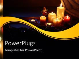 PowerPlugs: PowerPoint template with christmas depiction with Santa Claus and lighted candles in dark background