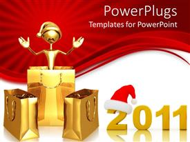 PowerPlugs: PowerPoint template with christmas depiction with shopping bags and Santa cap over red background