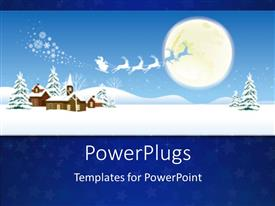 PowerPlugs: PowerPoint template with christmas depiction with snow field and Santa on sleigh