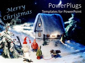 PowerPlugs: PowerPoint template with christmas depiction with snow over house and Christmas tree