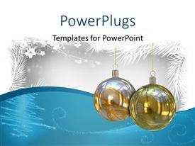 PowerPoint template displaying christmas depiction with snow on palms and two sparkling ornaments