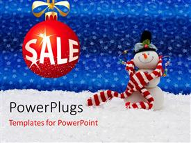 PowerPoint template displaying christmas depiction with text SALE on red ornament and snowman