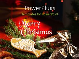 PowerPlugs: PowerPoint template with christmas depictions with Christmas tree and gift boxes on black background