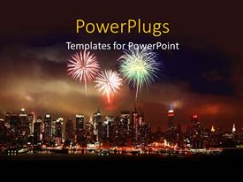 PowerPoint with christmas depictions with fireworks in night sky over modern city