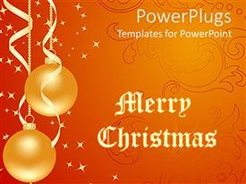 PowerPoint template displaying christmas depictions with ribbons holding balloons and white stars