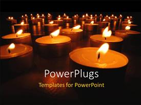 PowerPlugs: PowerPoint template with christmas depictions with row of burning candles at night