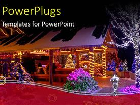 PowerPlugs: PowerPoint template with a house with some trees and lots of Christmas lights