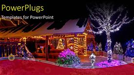 PowerPoint template displaying a house with some trees and lots of Christmas lights