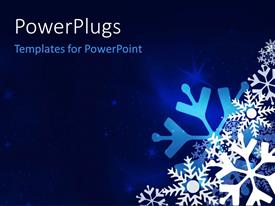 PowerPoint template displaying christmas festive blue background with snowflakes and glitters