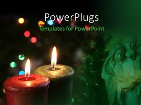 PowerPlugs: PowerPoint template with a Christmas figurine with a red and black colored candle