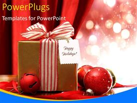 PowerPlugs: PowerPoint template with christmas gift box with red sparkling ornaments and card reading Happy holidays