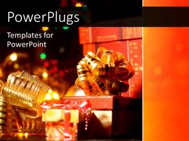 PowerPlugs: PowerPoint template with christmas gift boxes with stars and decoration over night sky