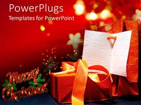 PowerPoint template displaying christmas gift and card with a text that spells out the word